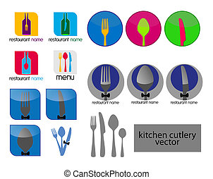 kitchen cutlery i - Set - kitchen cutlery in different...