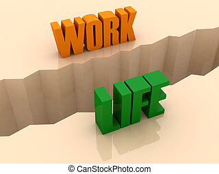 WORK and LIFE split on sides - Two words WORK and LIFE split...