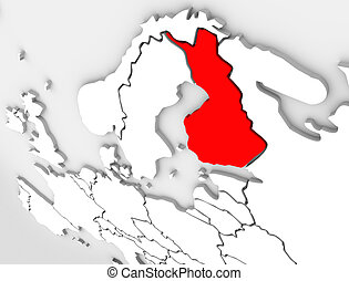 Finland Abstract 3D Map Country Europe Scandinavian Region