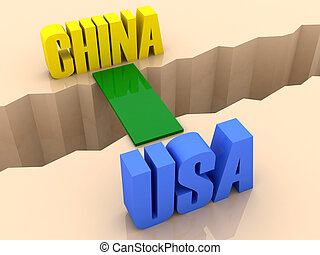 CHINA and USA united - Two countries CHINA and USA united by...