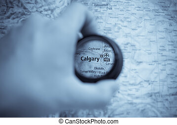Map of Calgary - Selective focus on antique map of Calgary