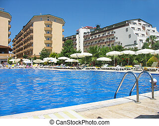 Rest in pool with transparent water in Turkey