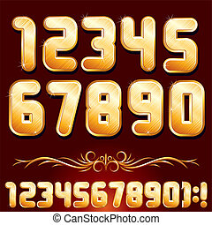 Golden Alphabet. Set of Metallic Numbers Vector - Original...