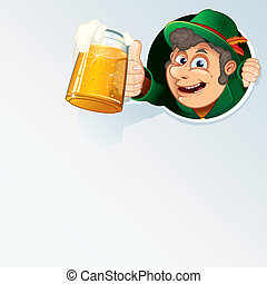 Happy Bavarian Man Hold an Oktoberfest Beer Stein