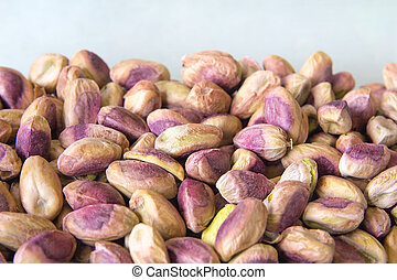 Pistachio Nuts Piled Up - Shelled Pistachio Nuts Closeup...
