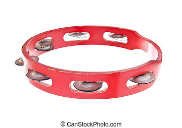 tambourine - old tambourine isolated on a white background