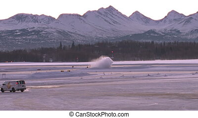 Anchorage Airport Snowy Morning - Early morning in a wintry...