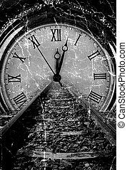 Railway disappear in watch grunge old art decay black and...