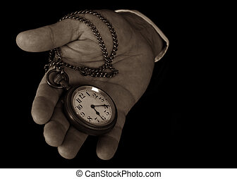 Pocket watch in hand hold look time detail