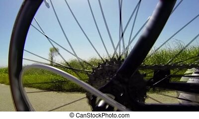 Detail view on a bycicle gear syste - Detail view on a gear...
