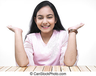 teenage girl face with her palms