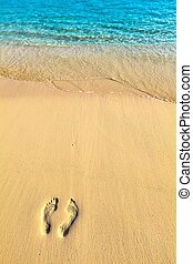 One pair footstep on the beach - One pair footsteps on coral...