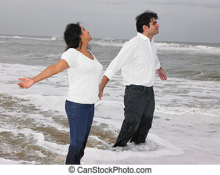 Asian couple at the beach