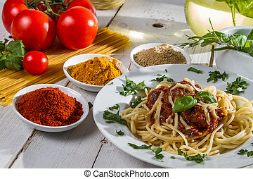 Close-up of hot spaghetti on a plate