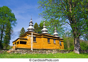 An old Orthodox church in Rzepedz, Beskid Niski Mountains,...