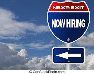 Now hiring road sign