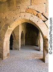 multiple arches and columns in the caravansary on the Silk...