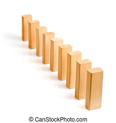 Domino effect - row of white dominoes on white background