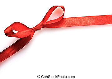 Blank gift tag tied with a bow of red satin ribbon Isolated...
