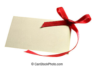 Blank gift tag tied with a bow of red satin ribbon. Isolated on white, with soft shadow