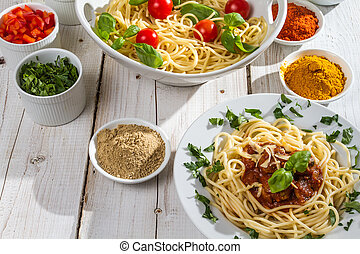 Ingredients for spaghetti with vegetables