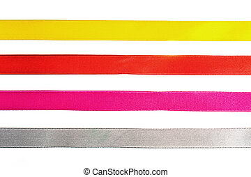 Red, yellow, orange, blue shiny gradient curling ribbons for design.