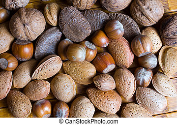 Mixed nuts in the shell selection of Brazil,almonds,walnut...
