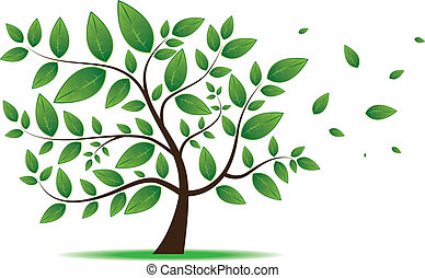 Tree with leaves,plant,forest - Vector image for various...
