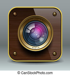 Wooden luxury photo camera icon, vector Eps10 illustration.