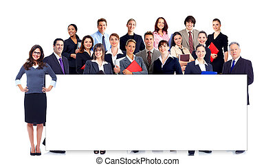 Business people team with banner. Isolated over white...