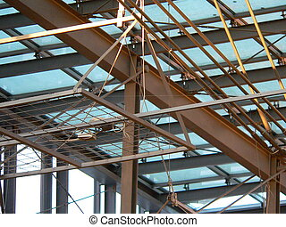 roof structure - structure holding up a clear glass roof of...