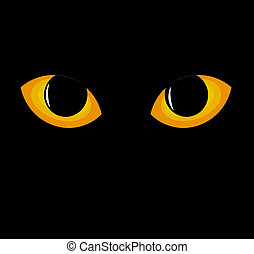 Cat eyes - Wild black cat eyes in darkness Vector...