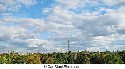 Berlin panorama - Day view of Berlin, Germany with its tv...