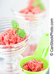 sorbet - sweet strawberry sorbet close up