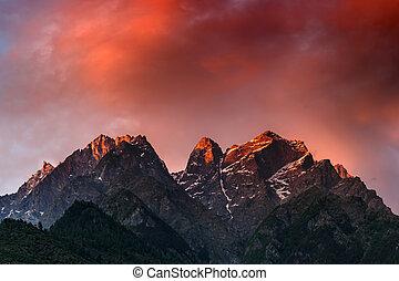 sunset - beauty pink sunset on himalaya mountain