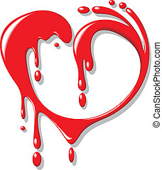 red blood (liquid) heart isolated on the white background