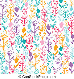 Colorful tulip flowers seamless pattern background - Vector...