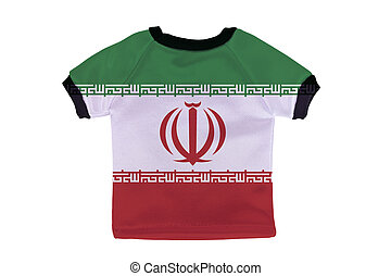 Small shirt with Iran flag isolated on white background