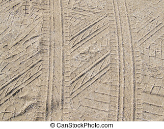 Tyre Tracks - tyre tracks in the sand
