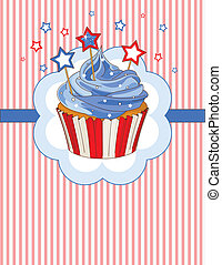 Patriotic cupcake place card - Patriotic cupcake with stars...
