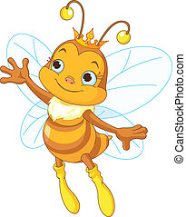 Queen bee showing - Illustration of a queen cute bee...