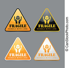 Fragile icons - Glossy fragile icons isolated on grey...
