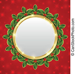Christmas plaque with holly wreath on starry background