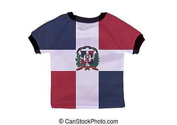 Small shirt with Dominican Republic flag isolated on white...