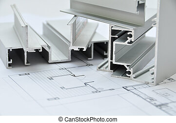 Aluminium profile with Architectural drawing