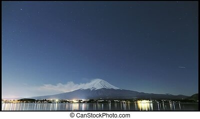 timelapse of Mt. Fuji at night