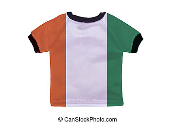 Small shirt with Ivory Coast Cote dIvoire flag isolated on...