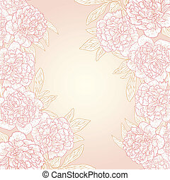 Vector greeting card with peonies. - Vector illustration for...