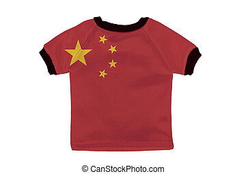 Small shirt with China flag isolated on white background