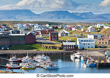 The town of Stykkisholmur, the western part of Iceland - The...